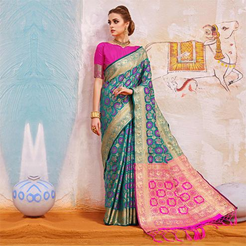 Blooming Turquoise Colored Traditional Designer Silk Saree