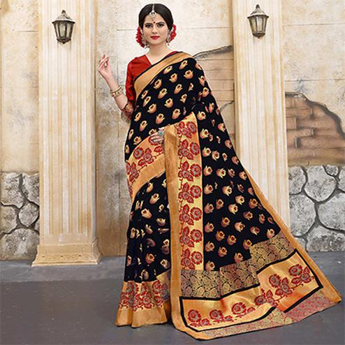 Gorgeous Black Colored Traditional Woven Banarasi Silk Saree