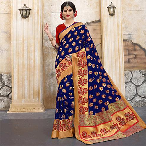 Majesty Blue Colored Traditional Woven Banarasi Silk Saree
