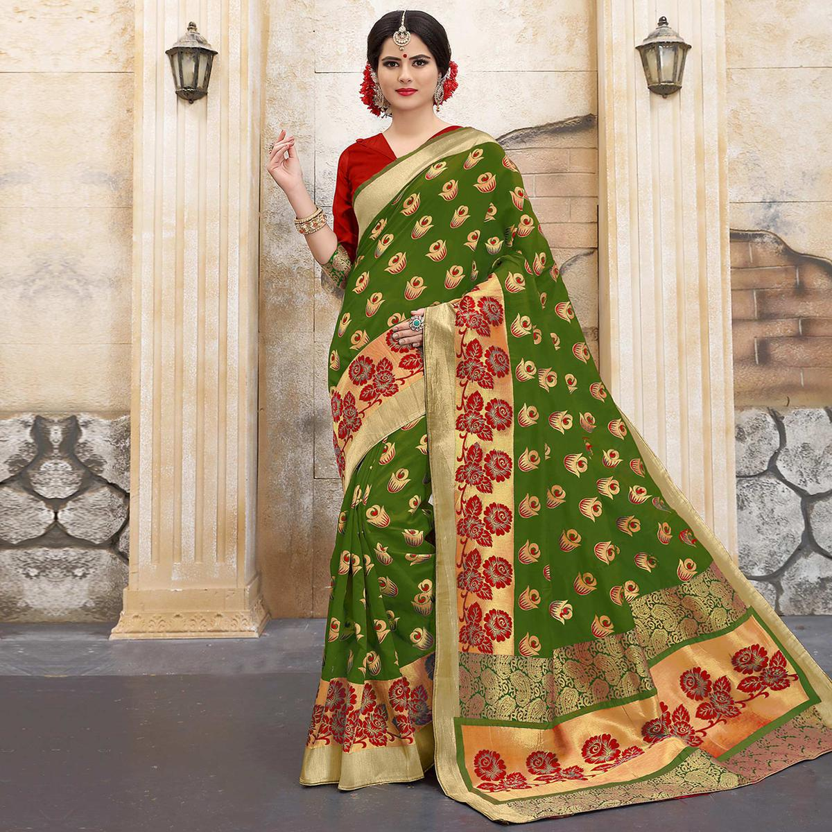 a927cc33c42451 Buy Appealing Mehndi Green Colored Traditional Woven Banarasi Silk Saree  for women s online India