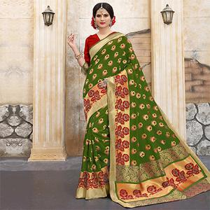 Appealing Mehndi Green Colored Traditional Woven Banarasi Silk Saree