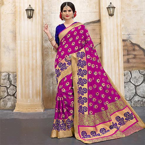 Marvellous Pink Colored Traditional Woven Banarasi Silk Saree