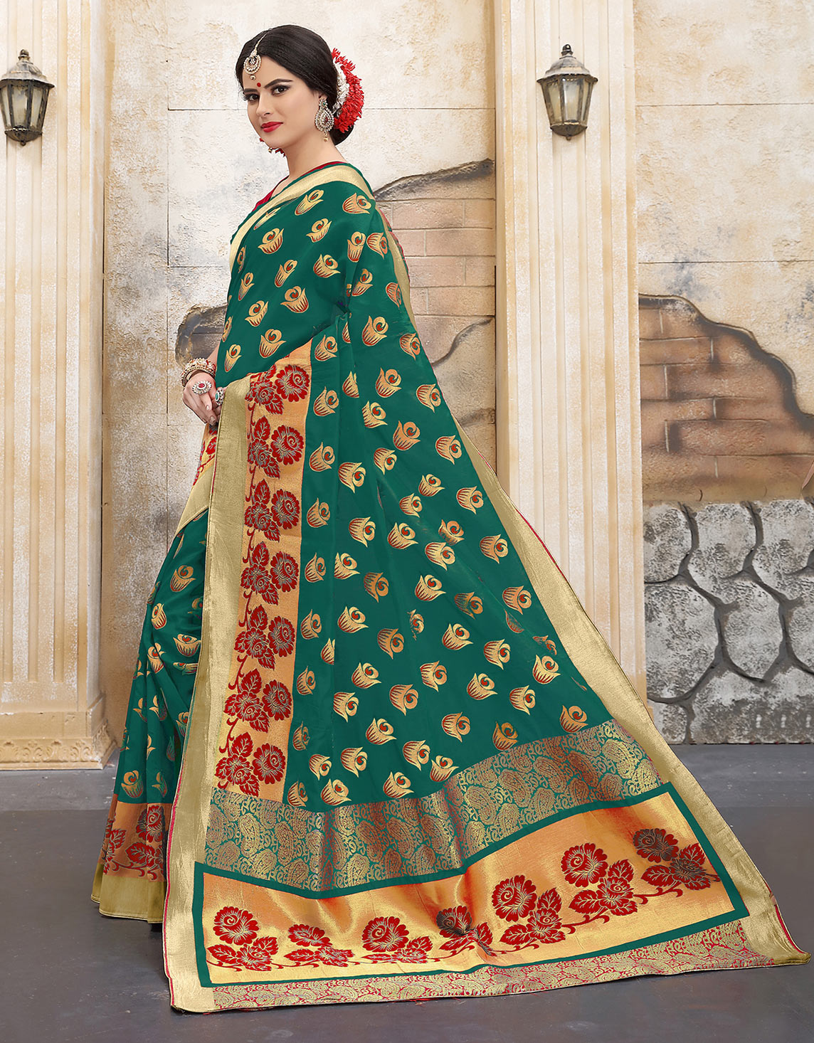 Ravishing Rama Green Colored Traditional Woven Banarasi Silk Saree
