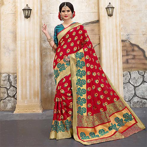 Graceful Red Colored Traditional Woven Banarasi Silk Saree