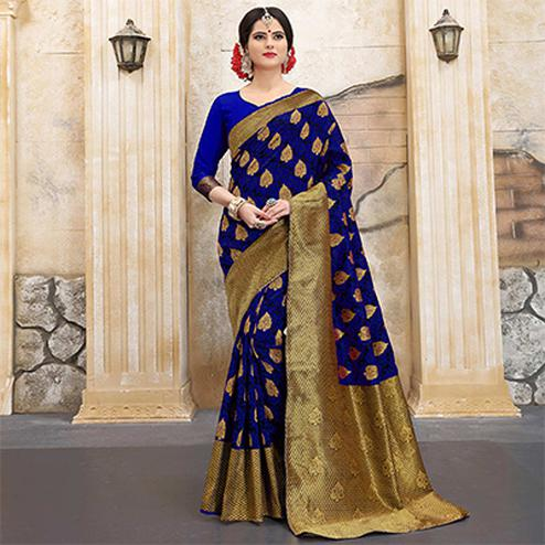 Deserving Blue Colored Traditional Woven Banarasi Silk Saree