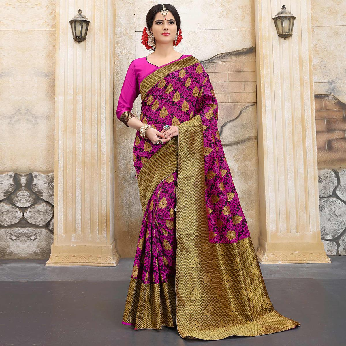 Fabulous Pink Colored Traditional Woven Banarasi Silk Saree