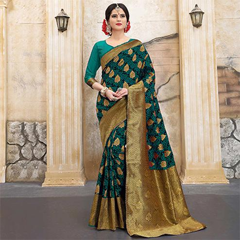 Amazing Rama Green Colored Traditional Woven Banarasi Silk Saree