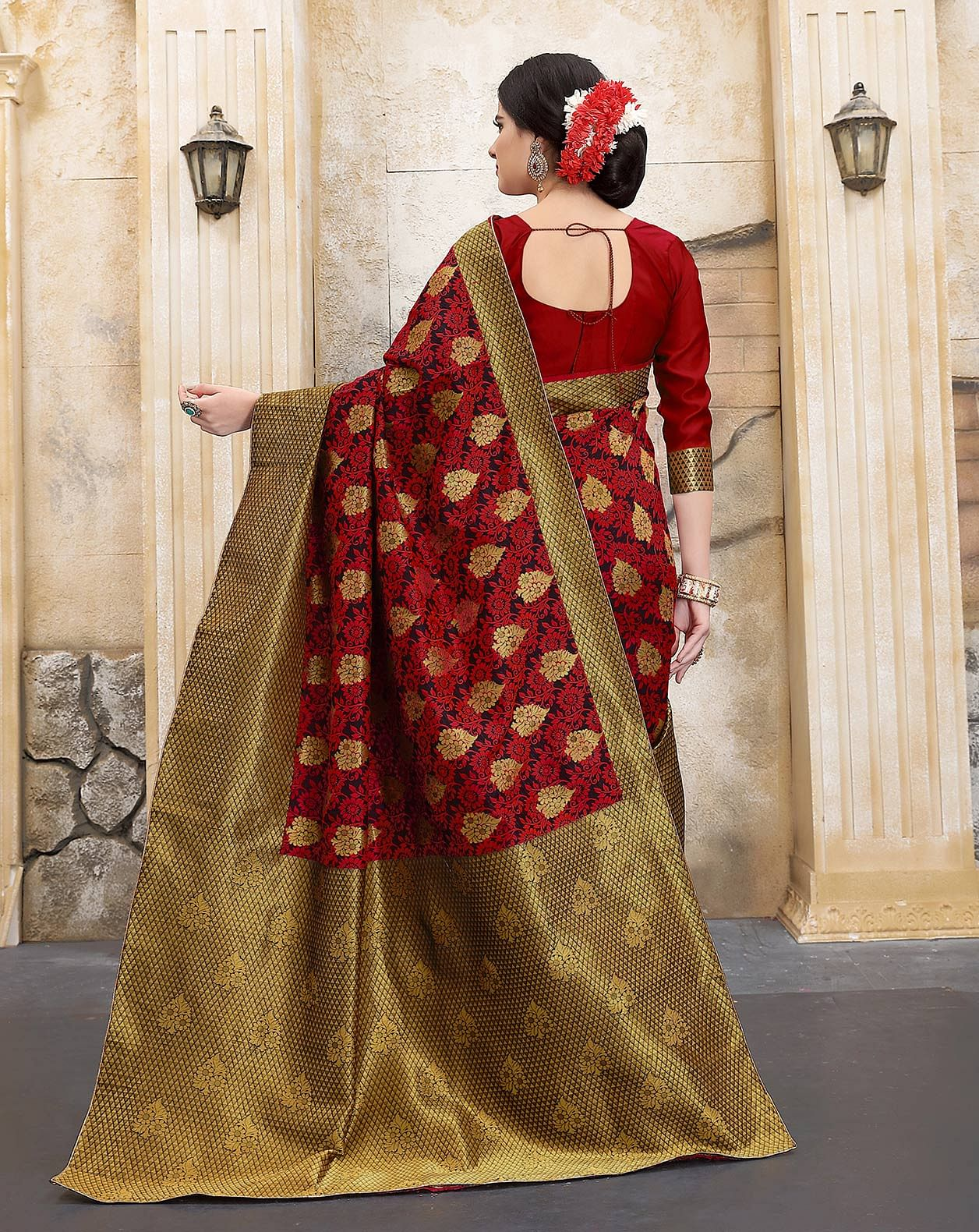 Rich Red Colored Traditional Woven Banarasi Silk Saree