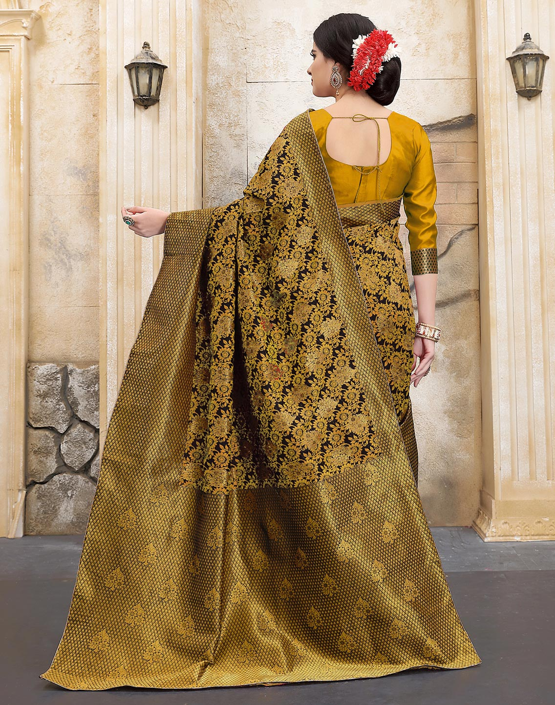 Dazzling Mustard Yellow Colored Traditional Woven Banarasi Silk Saree