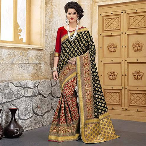 Arresting Black-Red Colored Traditional Woven Banarasi Silk Saree