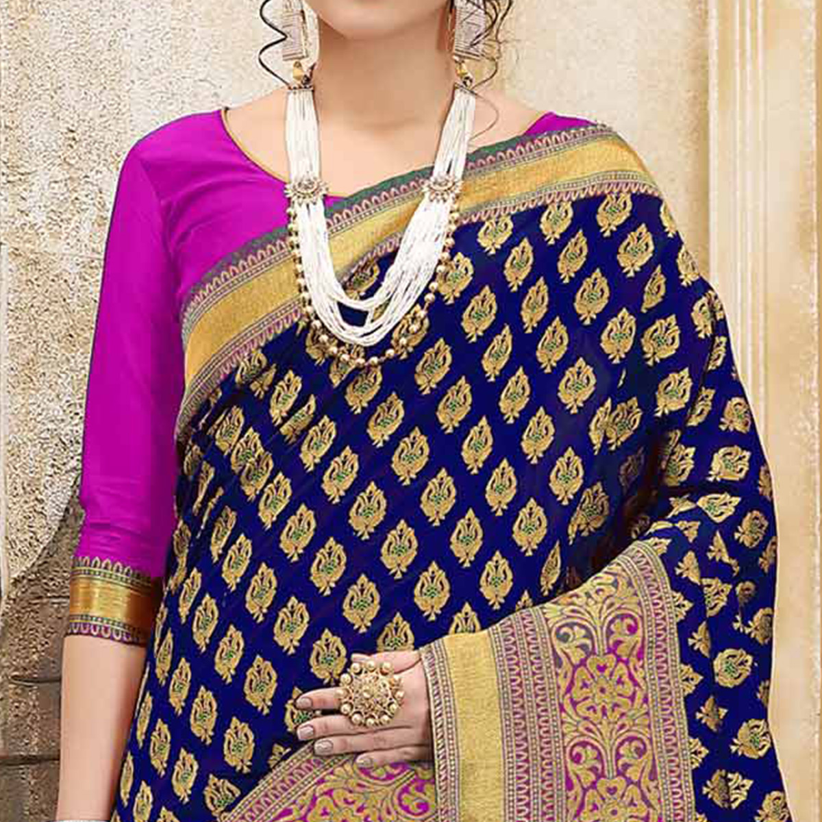 Glowing Pink-Blue Colored Traditional Woven Banarasi Silk Saree