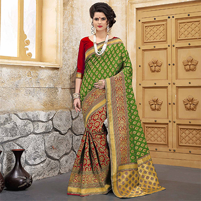 Alluring Green-Red Colored Traditional Woven Banarasi Silk Saree