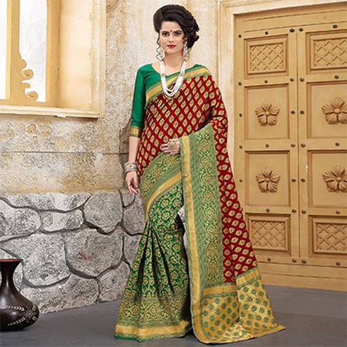 Sizzling Red-Green Colored Traditional Woven Banarasi Silk Saree