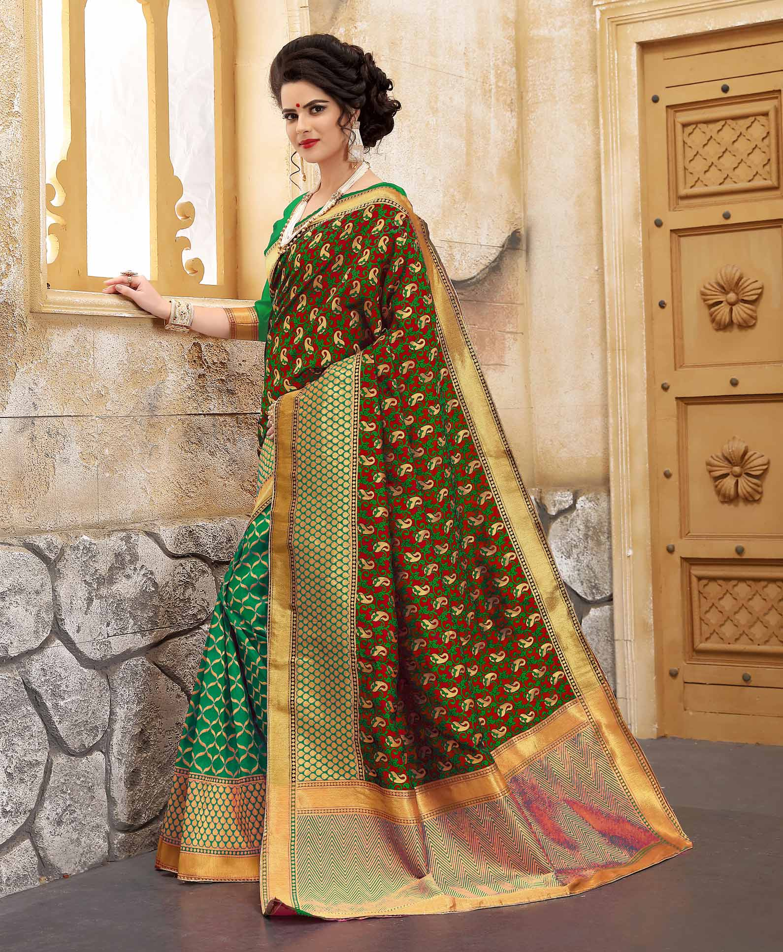 Beautiful Green Colored Traditional Woven Banarasi Silk Saree