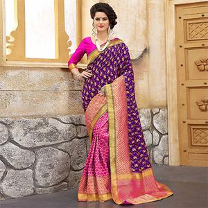 Lovely Purple-Pink Colored Traditional Woven Banarasi Silk Saree