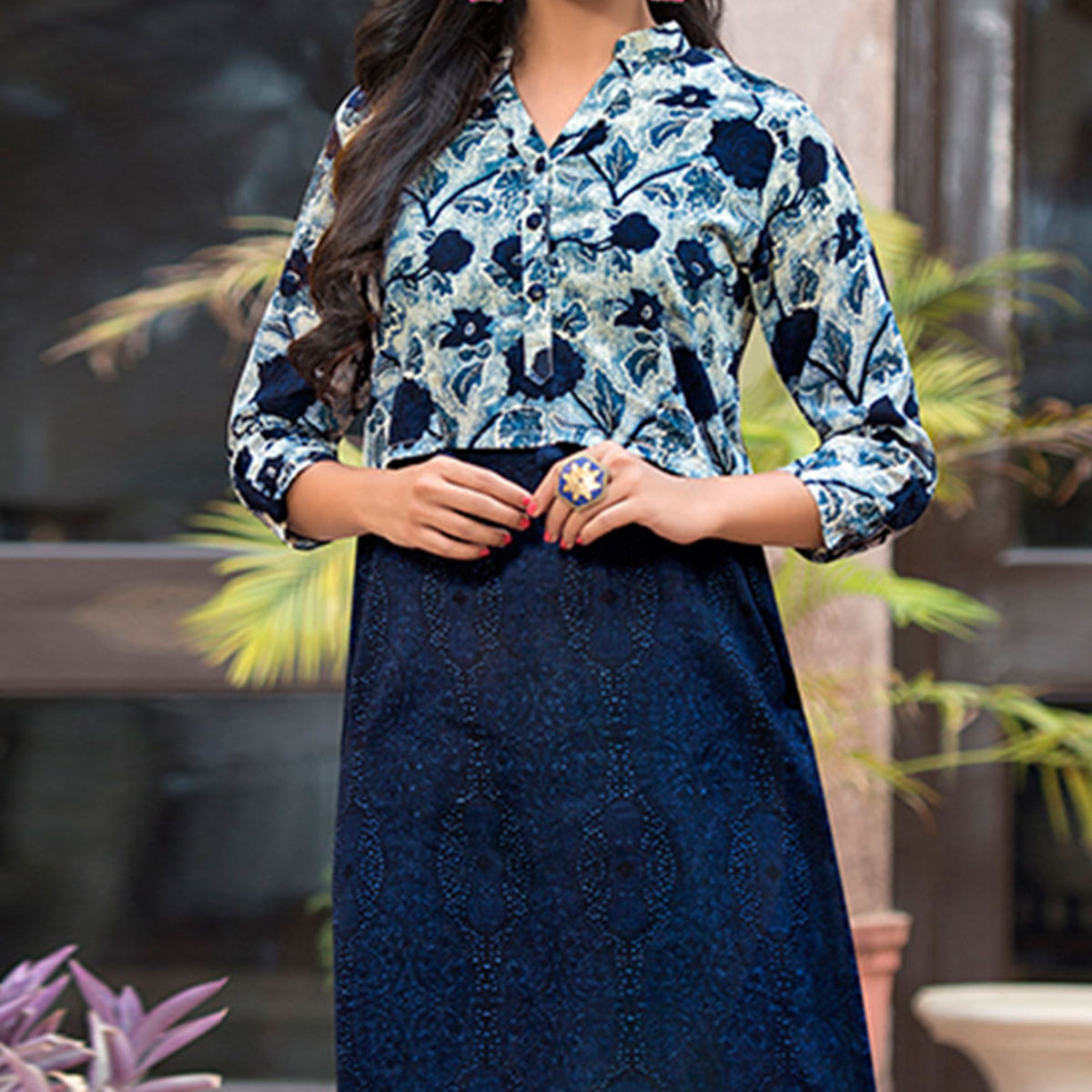 Stylish Navy Blue Printed Cotton Kurti