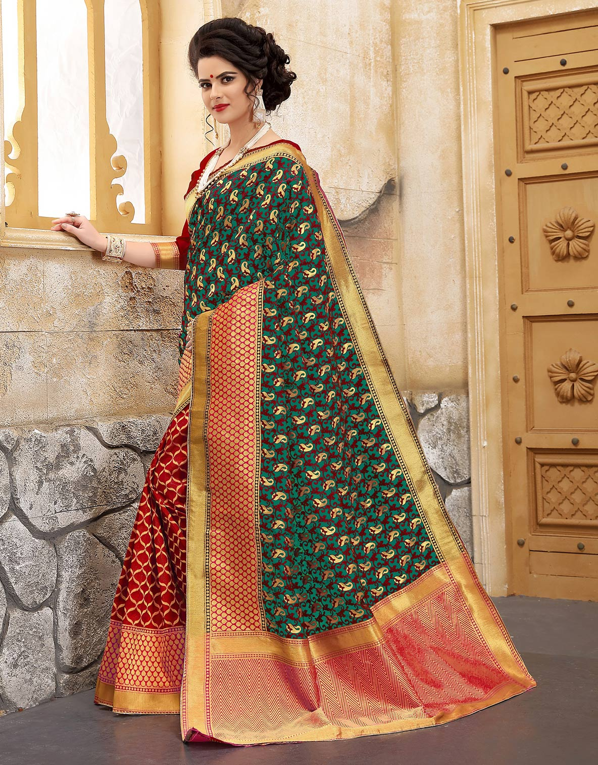 Adorning Green-Red Colored Traditional Woven Banarasi Silk Saree