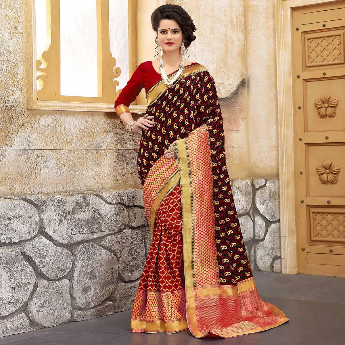 Delightful Red Colored Traditional Woven Banarasi Silk Saree