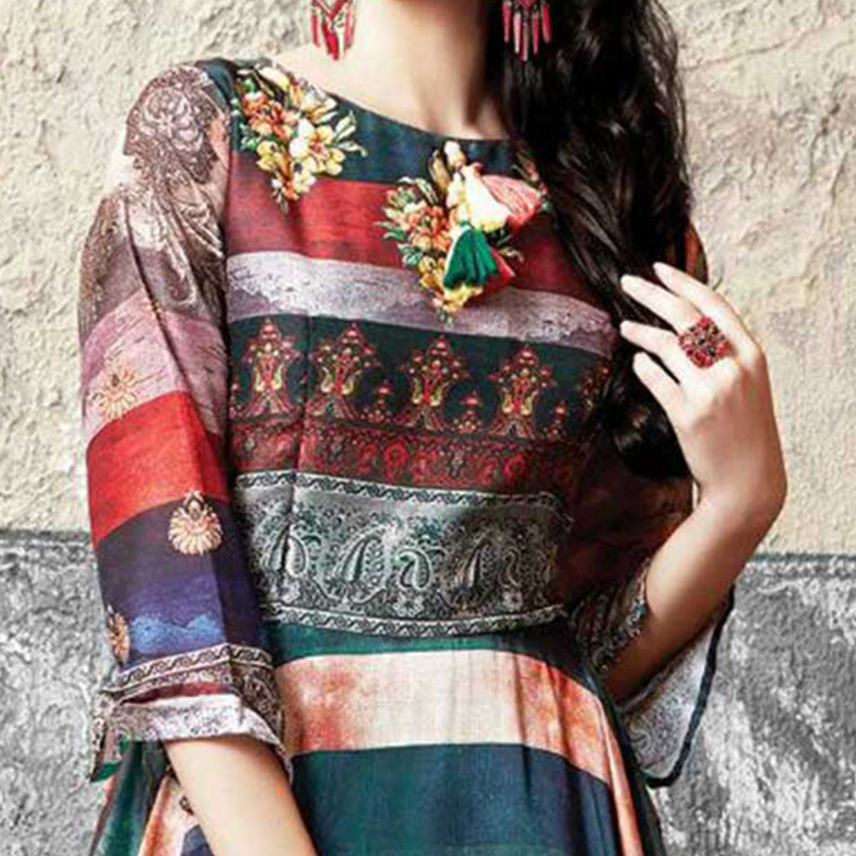 Sophisticated Multicolored Partywear Designer Digital Printed Muslin Cotton Gown