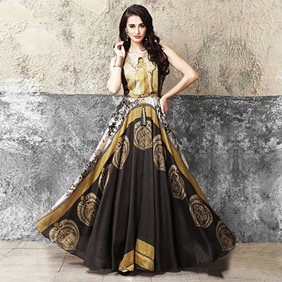 Intricate Multicolored Partywear Designer Digital Printed Muslin Cotton Gown