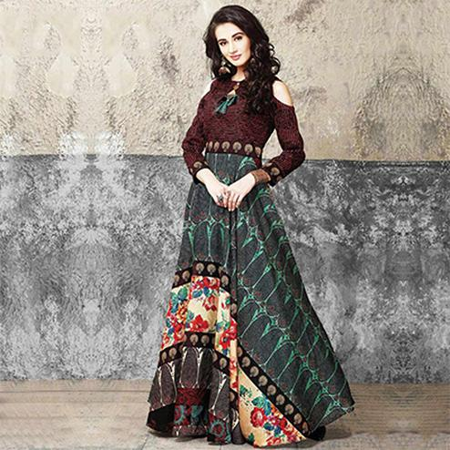 Elegant Multicolored Partywear Designer Digital Printed Muslin Cotton Gown