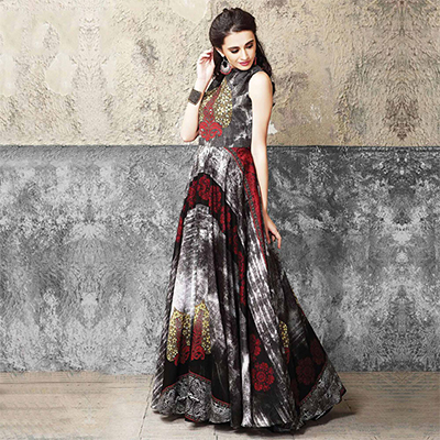Unique Multicolored Partywear Designer Digital Printed Muslin Cotton Gown