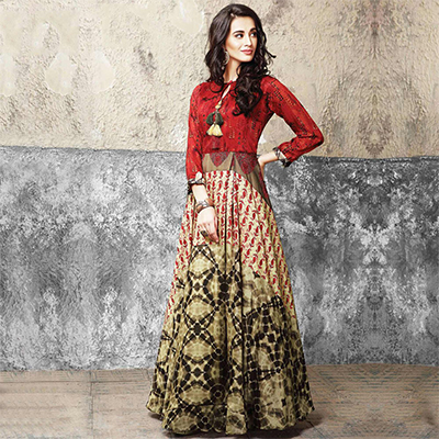 Desirable Multicolored Partywear Designer Digital Printed Muslin Cotton Gown