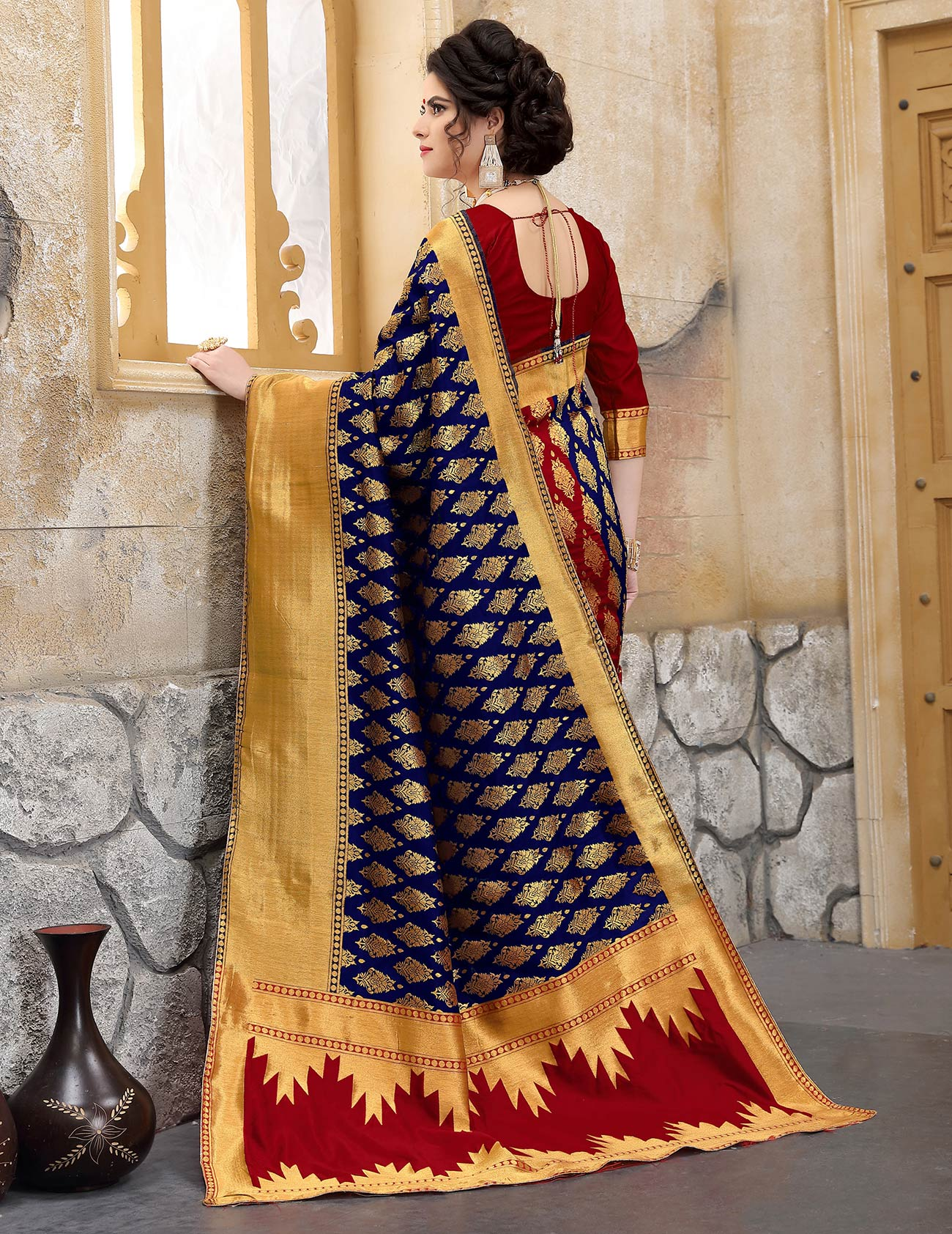 Navy Blue Colored Designer Wedding Wear Banarasi Silk Saree