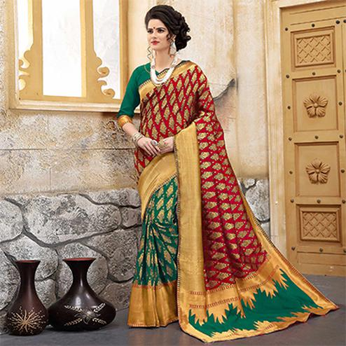 Red Colored Designer Wedding Wear Banarasi Silk Saree