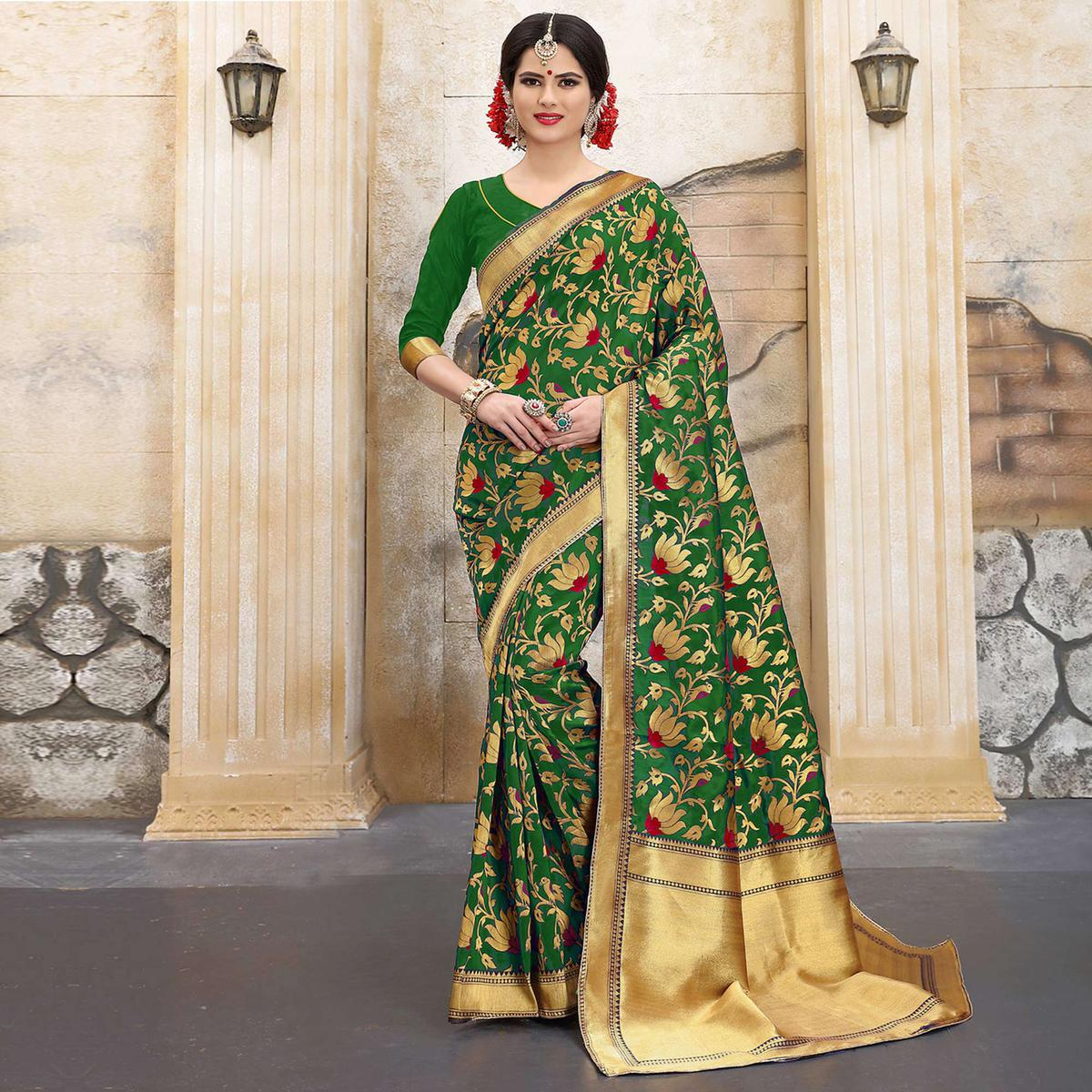 Mehendi Green Colored Designer Wedding Wear Banarasi Silk Saree
