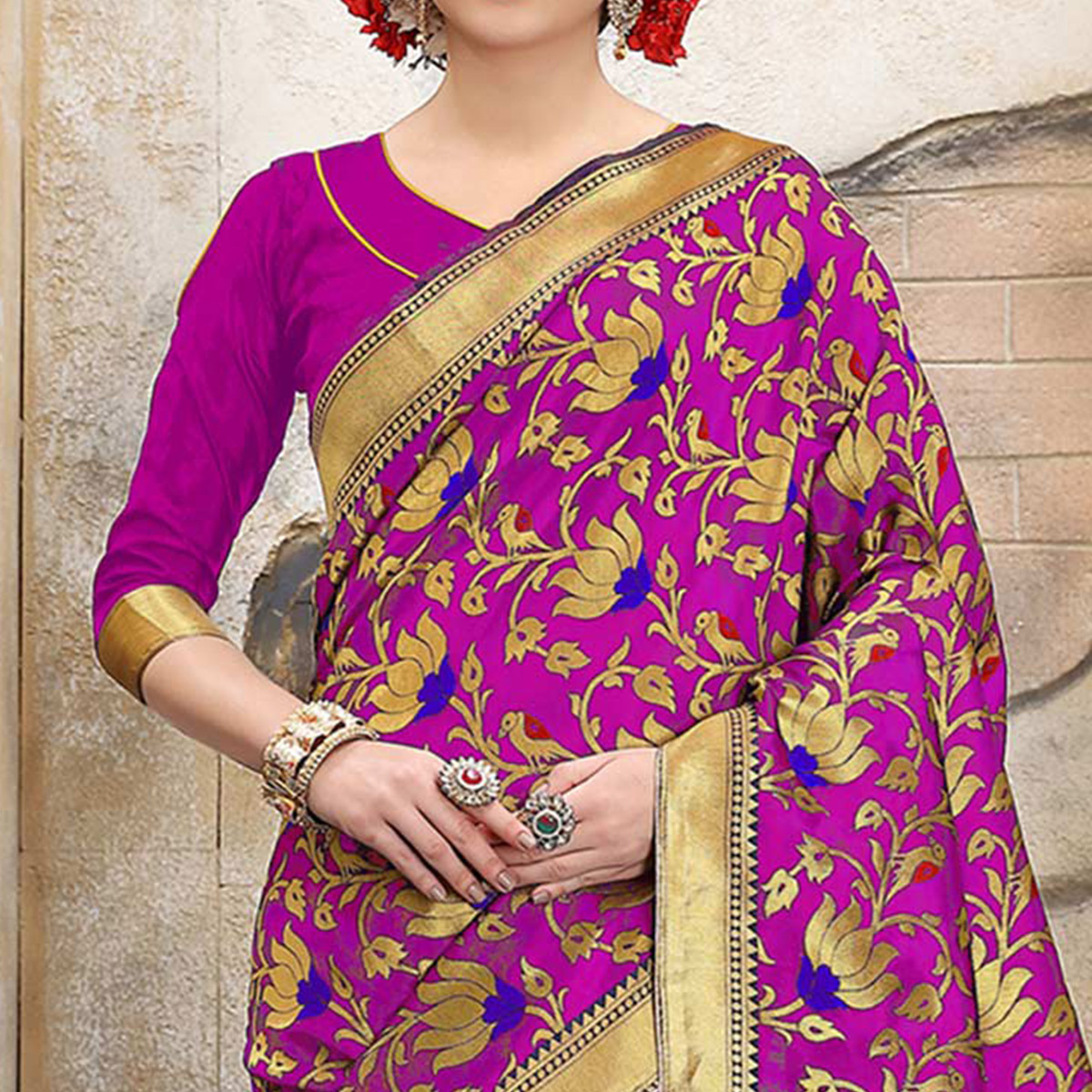 Pink Colored Designer Wedding Wear Banarasi Silk Saree