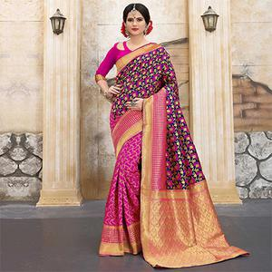 Pink-NavyBlue Colored Designer Wedding Wear Banarasi Silk Saree