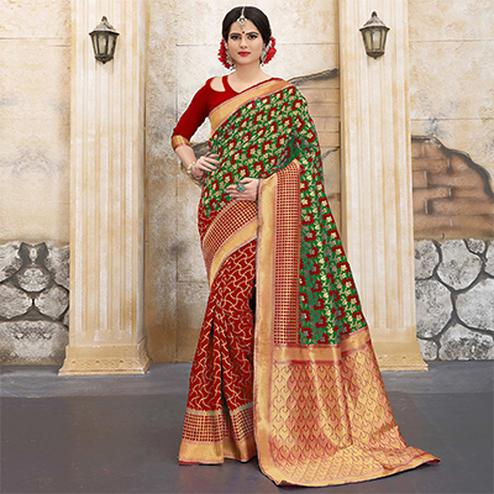Red-Mehendi Green Colored Designer Wedding Wear Banarasi Silk Saree