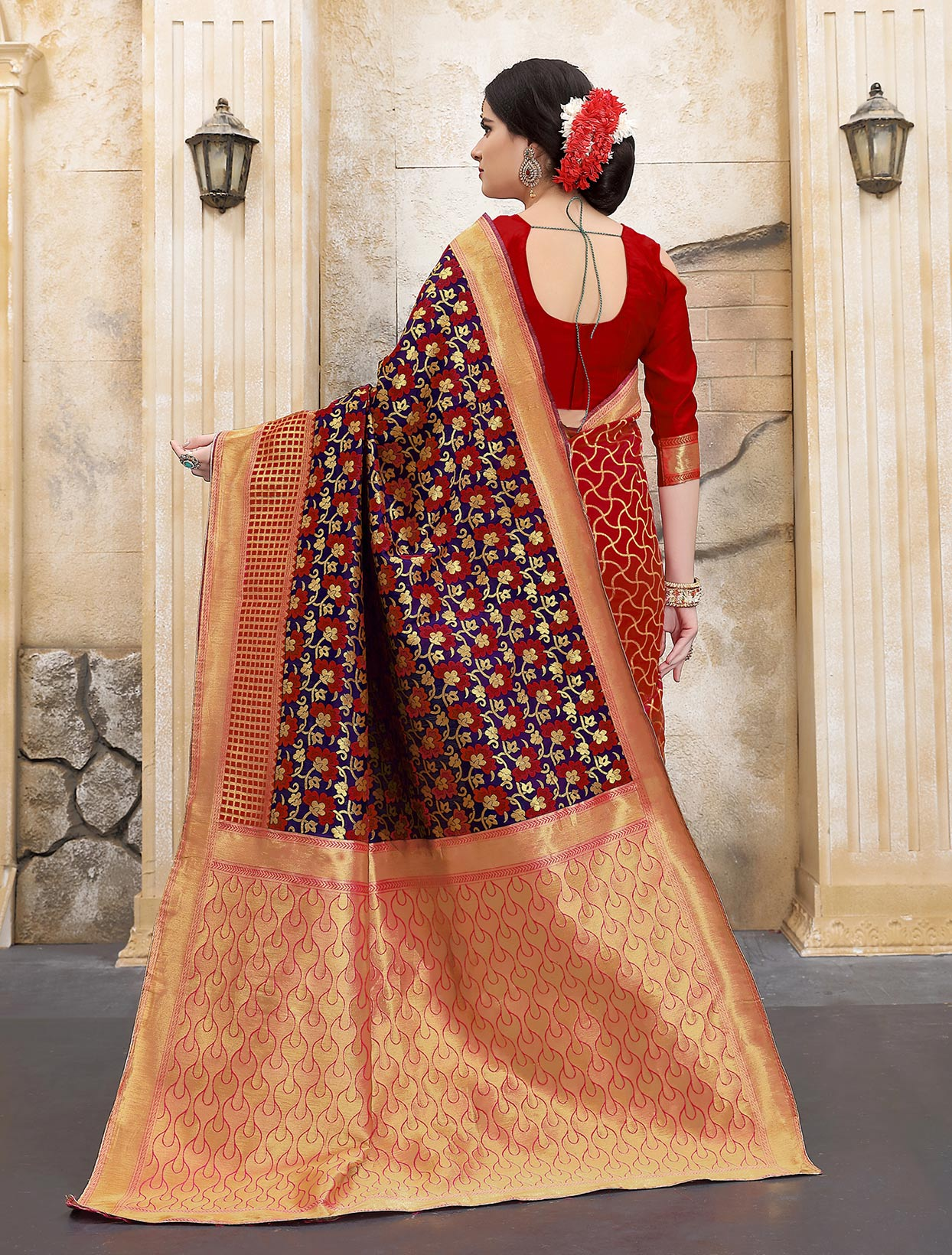 Red-Navy Blue Colored Designer Wedding Wear Banarasi Silk Saree