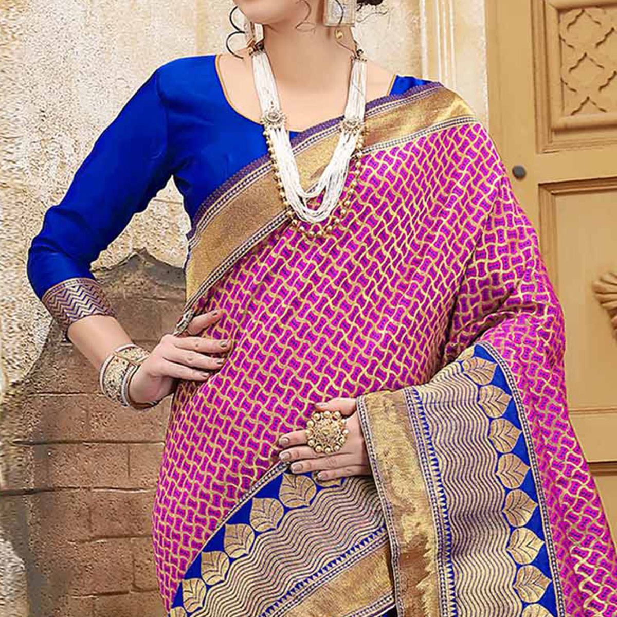 Blue-Pink Colored Designer Wedding Wear Banarasi Silk Saree