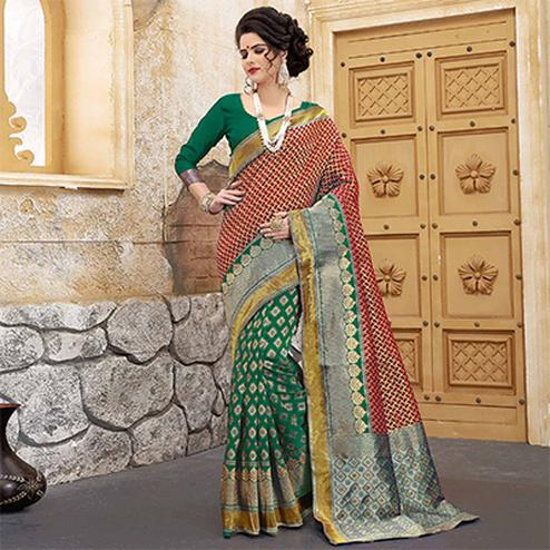 Green-Red Colored Designer Wedding Wear Banarasi Silk Saree