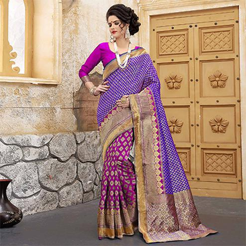 Pink-Blue Colored Designer Wedding Wear Banarasi Silk Saree