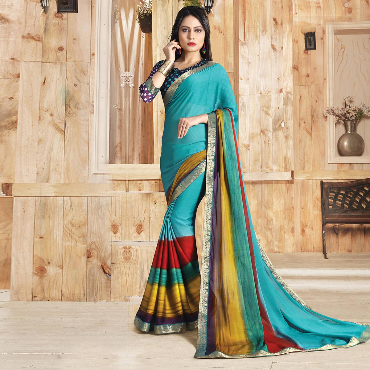 Sky Blue Colored Casual Printed Art Silk Saree