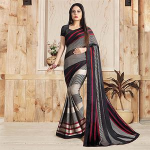 Gray-Black Colored Casual Printed Art Silk Saree