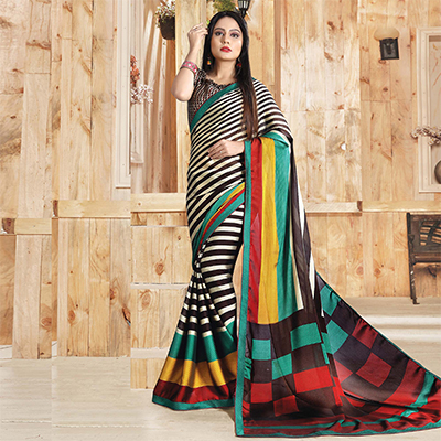 Multi Colored Casual Printed Art Silk Saree