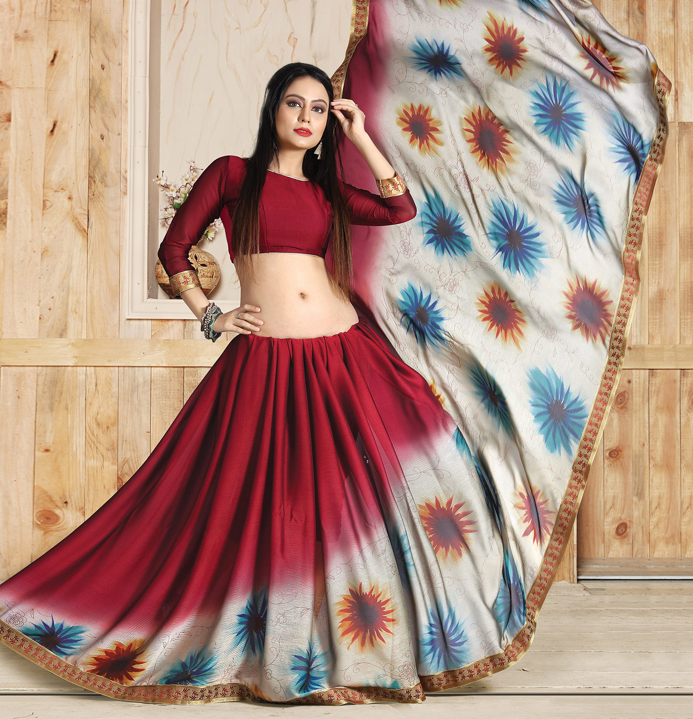 Red Colored Casual Printed Art Silk Saree