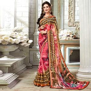 Dashing Pink Colored Casual Printed Georgette Saree