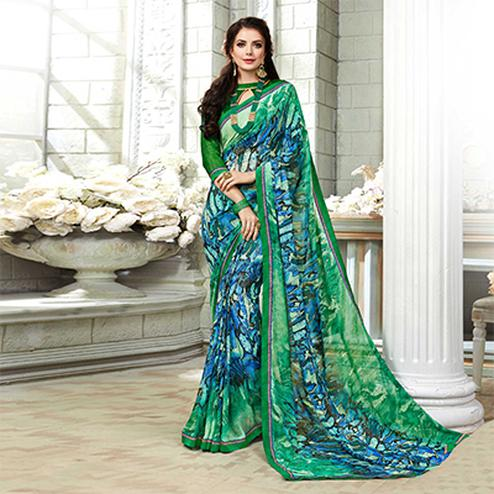 Excellent Green-Blue Colored Casual Printed Georgette Saree