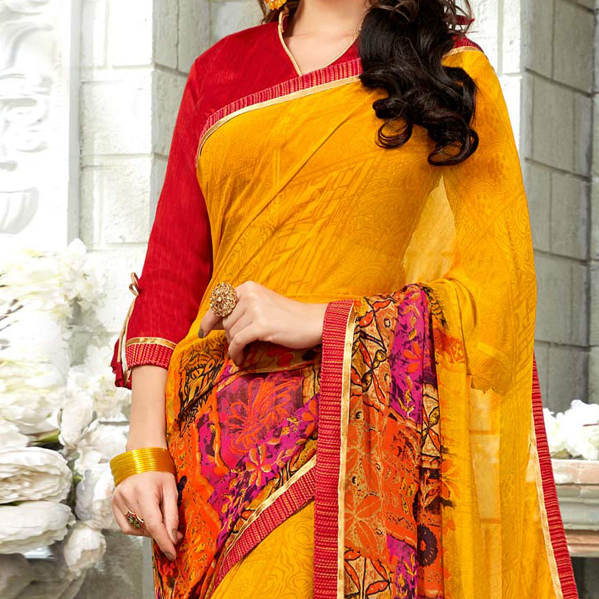 Exceptional Yellow Colored Casual Printed Georgette Saree