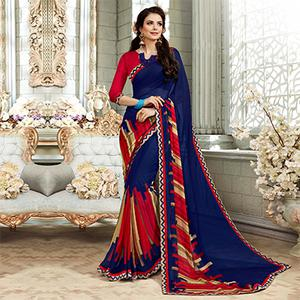 Elegant Navy Blue Colored Casual Printed Georgette Saree
