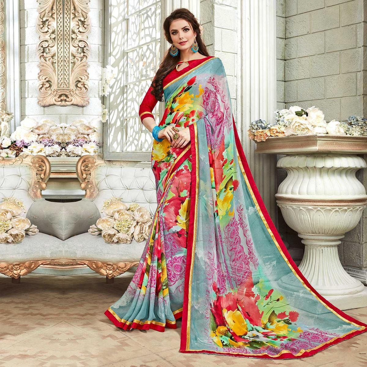 Beauteous Multicolored Casual Printed Georgette Saree