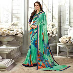 Mesmeric Aqua Green Colored Casual Printed Georgette Saree