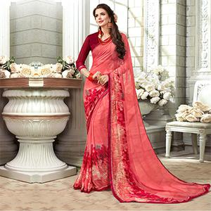 Integral Pink Colored Casual Printed Georgette Saree
