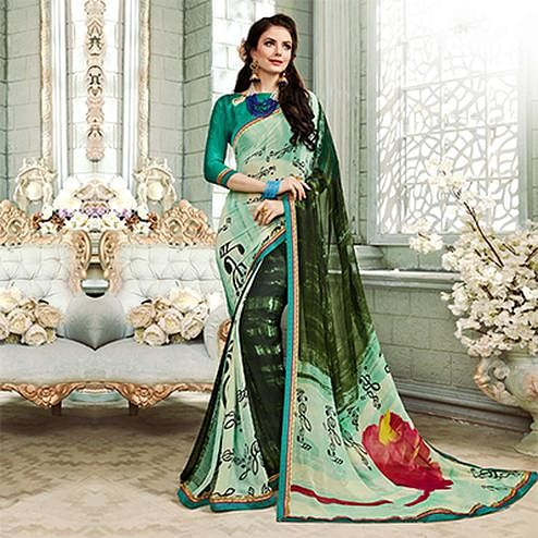 Marvelous Pastel Green-Pine Green Colored Casual Printed Georgette Saree