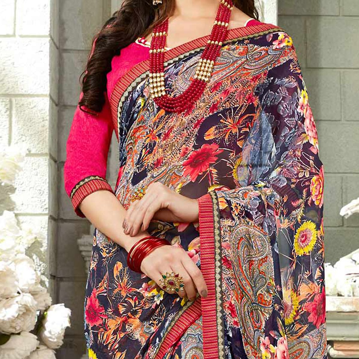 Energetic Multicolored Casual Printed Georgette Saree